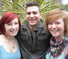 Kingston University students Emily Spacie (left), James Hoare and Rosie Hopkins will be in modern dress for the performance at the Rose Theatre.