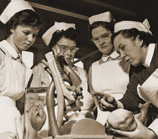 A group of nurses training St George's Hospital.