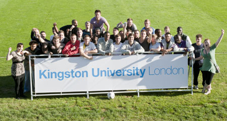 Staff and students celebrate the opening of the revamped sports facilities.
