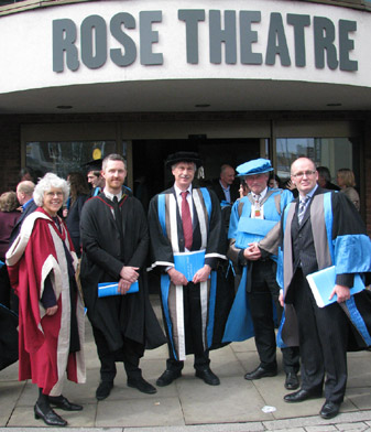 From right to left, Dean of Art, Design and Architecture Dr Simon Ofield-Kerr, Peter Bishop, Deputy Vice-Chancellor Dr David Mackintosh, Head of Architecture and Landscape Daniel Rosbottom and Head of Surveying and Planning Professor Sarah Sayce