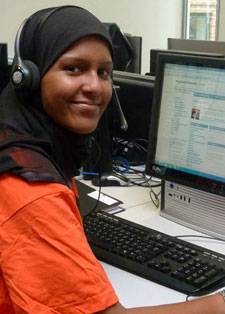 Hotline operator Rahimah Chattun has been making the most of her time at Kingston University, becoming a student ambassador and joining sports clubs.