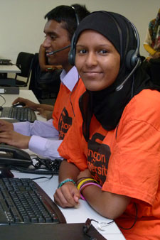 Hotline operator Rahimah Chattun is helping prospective Kingston University students through the Clearing process.