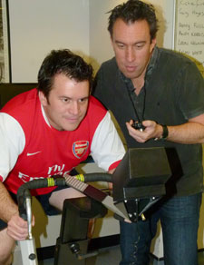 Competition was getting fierce between radio hosts Richie Firth, left, and Christian O'Connell as their teams prepared to go head to head in the football match.