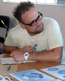Product design specialist Simon Maidment has helped the charity develop a light shade made from pressed paper.