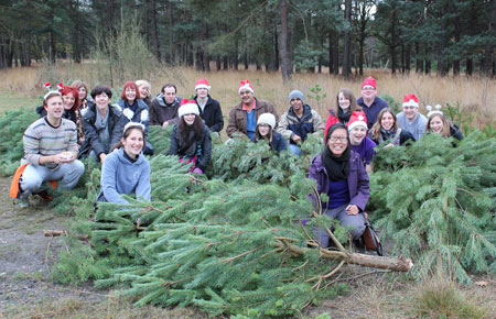Volunteers across various departments of the University came together to get involved in the sustainable Christmas tree chop.