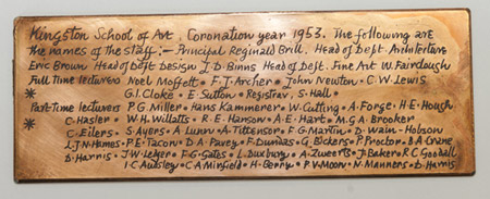A brass plaque listing all the Art School staff was also found inside the capsule.