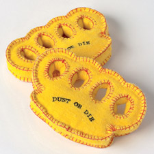 Simon Sawyer created a padded knuckle duster, complete with the logo 'Dust or Die'.