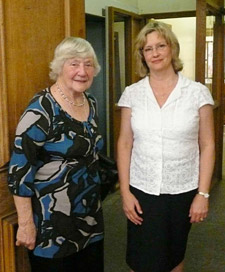 Dr Phillips (right) discussed how far women in politics had progressed during the past century with Baroness Shirley Williams at a talk in Richmond on 27 May.