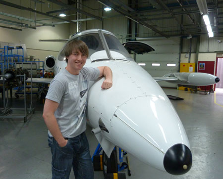 A Learjet is among the equipment that Dominic Marley will be working on during his degree studies.
