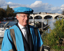 Nick Hewer received his honorary degree from Kingston University for his services to business and support of entrepreneurs in Britain.