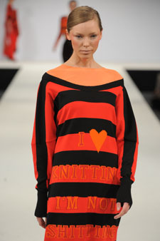 Lucy Hammond's vibrant knitwear was showcased on the catwalk during Graduate Fashion Week.