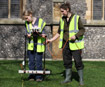 Nonsuch High School for Girls pupil Fiona Vernon, left, and Dr Helen Wickstead carry out the survey