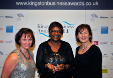 Photo from left to right: Denise Cooper, KU with Gloria Ssali and Debbie Camp, both from YMCA London South West.