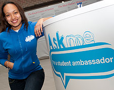 Renai, one of the Student Ambassadors welcomes visitors to the business school