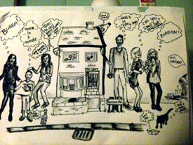 "A drawing my first year flat mate did of our ""family"""