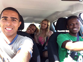 With friends on a road trip!