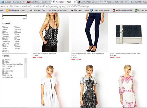 Screenshot of internet shopping