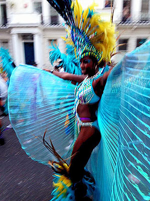 Vibrant colours and music blaring at Notting Hill Carnival!