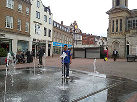 The fountains in Kingston marketplace