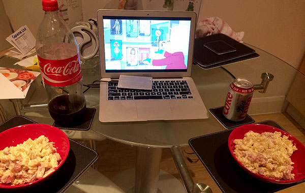 A TV dinner... well laptop dinner, in front of The Simpsons