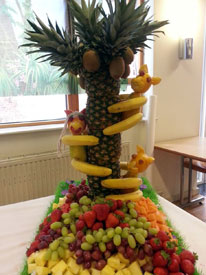 An amazing fruit sculpture at the Caribbean BBQ