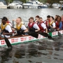 Taking part in the Kingston Dragon boat race - Kingston University London