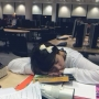 Having a quick rest after a long revision session in the library at Kingston Hill - Kingston University London